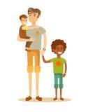 Πατέρας με δύο παιδιά του που έχουν έναν συμπαθητικό χρόνο απεικόνιση αποθεμάτων