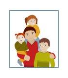 Πατέρας με τα κινούμενα σχέδια πορτρέτου τριών παιδιών Στοκ εικόνα με δικαίωμα ελεύθερης χρήσης