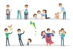 Πατέρας με τα παιδιά απεικόνιση αποθεμάτων