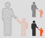 Πατέρας με το διανυσματικά πρότυπο δικτύων πλέγματος γιων και το εικονίδιο μωσαϊκών τριγώνων ελεύθερη απεικόνιση δικαιώματος