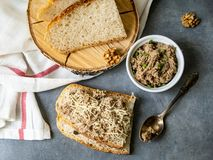 Πατέ των ψαριών με το σκουμπρί, καρύδια, ξινή κρέμα με το σπιτικό ψωμί στο γκρίζο υπόβαθρο Υγιές πρόγευμα, μεσημεριανό γεύμα, πρό στοκ φωτογραφία με δικαίωμα ελεύθερης χρήσης