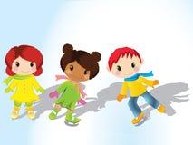 πατινάζ πάγου παιδιών ελεύθερη απεικόνιση δικαιώματος
