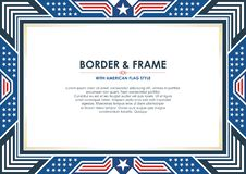 Πατριωτικά πλαίσιο ή σύνορα, με το ύφος αμερικανικών σημαιών και το σχέδιο χρώματος απεικόνιση αποθεμάτων