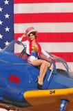 Πατριωτική αμερικανική καρφίτσα επάνω στο κορίτσι στοκ εικόνες
