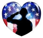Πατριωτική καρδιά αμερικανικών σημαιών χαιρετισμού στρατιωτών ελεύθερη απεικόνιση δικαιώματος