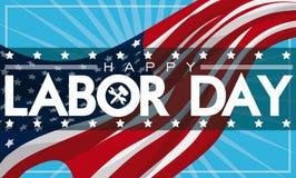 Πατριωτικό έμβλημα Εργατικής Ημέρας με τη αμερικανική σημαία, διανυσματική απεικόνιση Στοκ Εικόνες