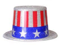 Πατριωτικό καπέλο τη αμερικανική σημαία που απομονώνεται με Στοκ Εικόνες