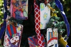 Πατριωτικό χριστουγεννιάτικο δέντρο στο οχυρό Myers, Φλώριδα, ΗΠΑ στοκ εικόνα με δικαίωμα ελεύθερης χρήσης