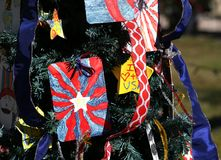 Πατριωτικό χριστουγεννιάτικο δέντρο στο οχυρό Myers, Φλώριδα, ΗΠΑ στοκ εικόνα