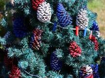 Πατριωτικό χριστουγεννιάτικο δέντρο στο οχυρό Myers, Φλώριδα, ΗΠΑ Στοκ Φωτογραφίες