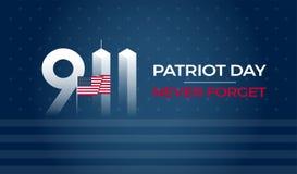 Πατριώτης ημέρα στις 11 Σεπτεμβρίου 9/11 ΑΜΕΡΙΚΑΝΙΚΟ έμβλημα - οι Ηνωμένες Πολιτείες σημαιοστολίζουν, 911 αναμνηστικά και δεν ξεχ απεικόνιση αποθεμάτων