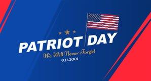 Πατριώτης ημέρα στις 11 Σεπτεμβρίου 2001 δεν θα ξεχάσουμε ποτέ Πρότυπο αφισών με την τυπογραφία και την ΑΜΕΡΙΚΑΝΙΚΗ σημαία Έμβλημ ελεύθερη απεικόνιση δικαιώματος