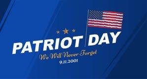 Πατριώτης ημέρα στις 11 Σεπτεμβρίου 2001 δεν θα ξεχάσουμε ποτέ Πρότυπο αφισών με την τυπογραφία και την ΑΜΕΡΙΚΑΝΙΚΗ σημαία Έμβλημ διανυσματική απεικόνιση