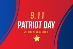 Πατριώτης ημέρα στις 11 Σεπτεμβρίου 2001 δεν θα ξεχάσουμε ποτέ Πρότυπο αφισών με την τυπογραφία Έμβλημα για την ημέρα της μνήμης ελεύθερη απεικόνιση δικαιώματος