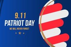 Πατριώτης ημέρα στις 11 Σεπτεμβρίου 2001 δεν θα ξεχάσουμε ποτέ Πρότυπο αφισών με την τυπογραφία Έμβλημα για την ημέρα της μνήμης απεικόνιση αποθεμάτων
