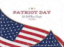 Πατριώτης ημέρα στις 11 Σεπτεμβρίου 2001 δεν θα ξεχάσουμε ποτέ Τυπογραφία με τη σημαία των ΗΠΑ σε ένα άσπρο υπόβαθρο Διανυσματική διανυσματική απεικόνιση