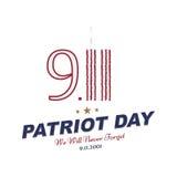 Πατριώτης ημέρα στις 11 Σεπτεμβρίου 2001 δεν θα ξεχάσουμε ποτέ Τυπογραφία με τον πύργο διδύμων σε ένα άσπρο υπόβαθρο Διανυσματικό ελεύθερη απεικόνιση δικαιώματος