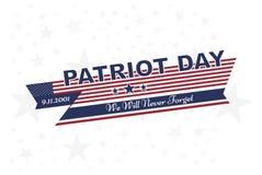Πατριώτης ημέρα στις 11 Σεπτεμβρίου 2001 δεν θα ξεχάσουμε ποτέ Τυπογραφία με τη σημαία των ΗΠΑ σε ένα άσπρο υπόβαθρο Διανυσματική ελεύθερη απεικόνιση δικαιώματος