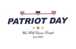 Πατριώτης ημέρα στις 11 Σεπτεμβρίου 2001 δεν θα ξεχάσουμε ποτέ Τυπογραφία με τη σημαία των ΗΠΑ σε ένα άσπρο υπόβαθρο Διανυσματική απεικόνιση αποθεμάτων