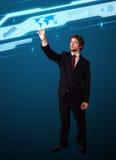 Πατώντας τύπος υψηλής τεχνολογίας επιχειρηματιών σύγχρονων κουμπιών Στοκ Εικόνες