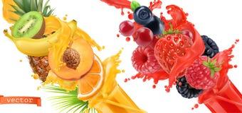 Παφλασμός έκρηξης φρούτων του χυμού τρισδιάστατο διανυσματικό σύνολο εικονιδίων ελεύθερη απεικόνιση δικαιώματος