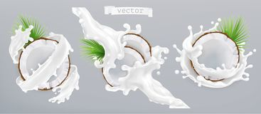 Παφλασμός καρύδων και γάλακτος τρισδιάστατο διάνυσμα ε&iot απεικόνιση αποθεμάτων