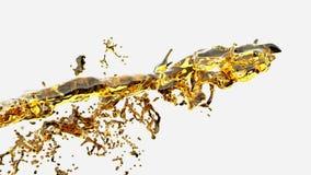 Παφλασμός νερού, κίτρινος υγρός σε αργή κίνηση απεικόνιση αποθεμάτων