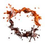 Παφλασμός σοκολάτας και καραμέλας με τα σταγονίδια που απομονώνεται τρισδιάστατη απεικόνιση διανυσματική απεικόνιση