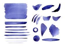Παφλασμοί, υπόβαθρο, κύκλος, κτυπήματα και γραμμές Watercolor αφηρημένοι μπλε ιώδεις Στοκ Εικόνες