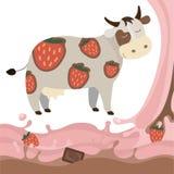 Παφλασμός διανυσματικό Illustrat γάλακτος αγελάδων γάλακτος σοκολάτας φραουλών φρούτων Στοκ Εικόνα