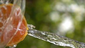 Παφλασμός νερού που αφορά το πορτοκάλι φετών σε αργή κίνηση απόθεμα βίντεο