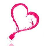 Παφλασμός της στιλβωτικής ουσίας καρφιών με μορφή μιας καρδιάς Στοκ Εικόνες