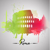 Παφλασμός watercolor της Ρώμης Στοκ εικόνα με δικαίωμα ελεύθερης χρήσης