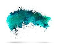Παφλασμός watercolor Aquamarine Πρότυπο για το σας Στοκ Εικόνα