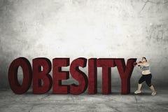 Παχιά λέξη παχυσαρκίας συντριβής γυναικών Στοκ Εικόνα