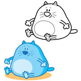 Παχιά γάτα δύο εικονιδίων Περίγραμμα και χρώμα Στοκ Εικόνες