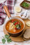 Παχιά κόκκινη σούπα με τα ζυμαρικά στοκ φωτογραφία με δικαίωμα ελεύθερης χρήσης
