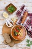 Παχιά κόκκινη σούπα με τα ζυμαρικά στοκ εικόνες με δικαίωμα ελεύθερης χρήσης