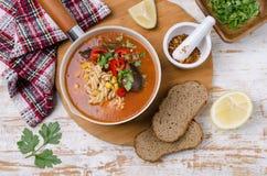 Παχιά κόκκινη σούπα με τα ζυμαρικά στοκ φωτογραφίες