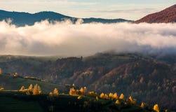 Παχιά ομίχλη πέρα από το λόφο στα βουνά φθινοπώρου Στοκ φωτογραφία με δικαίωμα ελεύθερης χρήσης