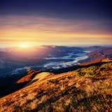 Παχιά ομίχλη στο πέρασμα Goulet βουνών Γεωργία, Svaneti Ευρώπη Στοκ φωτογραφίες με δικαίωμα ελεύθερης χρήσης