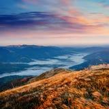 Παχιά ομίχλη στο πέρασμα Goulet βουνών Γεωργία, Svaneti Ευρώπη Στοκ φωτογραφία με δικαίωμα ελεύθερης χρήσης
