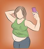 Παχιά τοποθέτηση γυναικών στο τηλέφωνο selfie υπέρβαρος το πρόβλημα της παχυσαρκίας χάνοντας βάρος επίσης corel σύρετε το διάνυσμ ελεύθερη απεικόνιση δικαιώματος