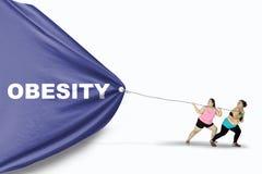Παχιές γυναίκες που σέρνουν το κείμενο παχυσαρκίας Στοκ Φωτογραφία