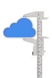 Παχυμετρικός διαβήτης βερνιέρων μετάλλων με το εικονίδιο σύννεφων Στοκ Φωτογραφία