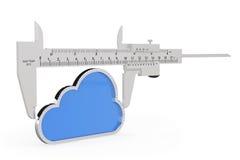 Παχυμετρικός διαβήτης βερνιέρων μετάλλων με το εικονίδιο σύννεφων Στοκ εικόνα με δικαίωμα ελεύθερης χρήσης