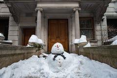 Παχύς χιονάνθρωπος στην πόλη της Νέας Υόρκης Στοκ Εικόνα