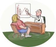 Παχύσαρκη καρικατούρα γιατρών γυναικών υπομονετική διανυσματική απεικόνιση