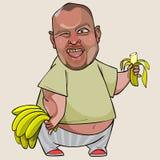 Παχύ άτομο κινούμενων σχεδίων με μια μπανάνα στο χέρι του που παρουσιάζει γλώσσα Στοκ Φωτογραφία