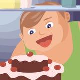 Παχύ αγόρι που τρώει το κέικ Στοκ Φωτογραφία